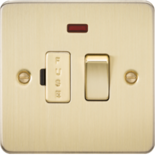 Flat Plate 13A Switched Fused Spur Unit With Neon - Brushed Brass