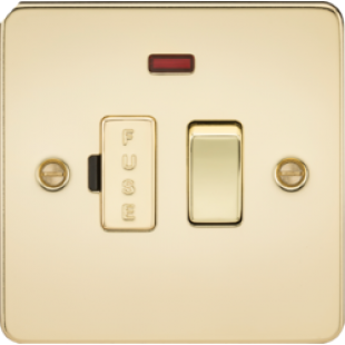 Flat Plate 13A Switched Fused Spur Unit With Neon - Polished Brass