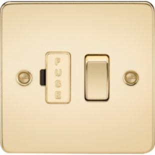 Flat Plate 13A Switched Fused Spur Unit - Polished Brass