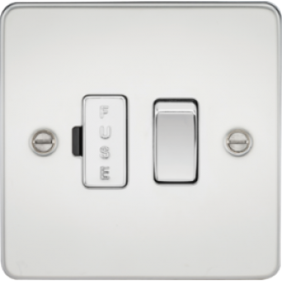 Flat Plate 13A Switched Fused Spur Unit - Polished Chrome