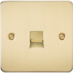 Flat Plate Telephone Master Socket - Brushed Brass