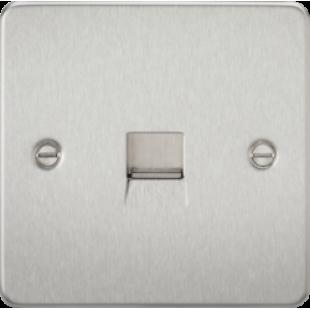 Flat Plate Telephone Master Socket - Brushed Chrome