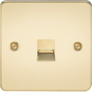 Flat Plate Telephone Master Socket - Polished Brass