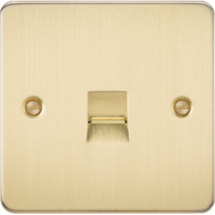 Flat Plate Telephone Extension Socket - Brushed Brass