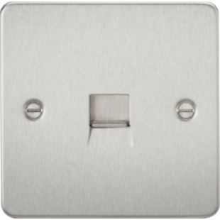 Flat Plate Telephone Extension Socket - Brushed Chrome