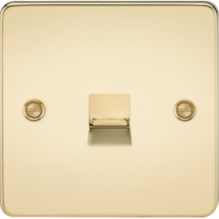 Flat Plate Telephone Extension Socket - Polished Brass