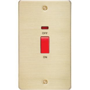 Flat Plate 45A 2G DP Switch With Neon - Brushed Brass