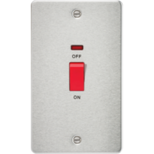 Flat Plate 45A 2G DP Switch With Neon - Brushed Chrome