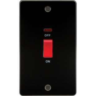 Flat Plate 45A 2G DP Switch With Neon - Gunmetal