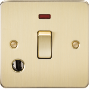 Flat Plate 20A 1G DP Switch With Neon & Flex Outlet - Brushed Brass