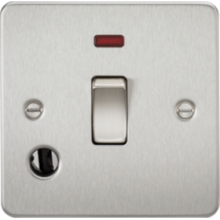 Flat Plate 20A 1G DP Switch With Neon & Flex Outlet - Brushed Chrome