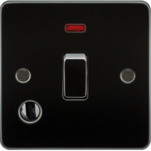 Flat Plate 20A 1G DP Switch With Neon & Flex Outlet - Gunmetal