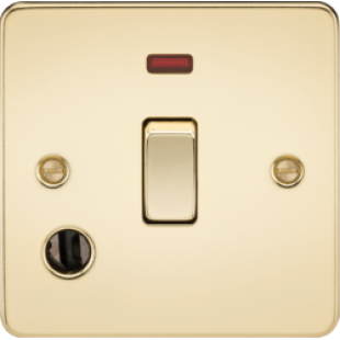 Flat Plate 20A 1G DP Switch With Neon & Flex Outlet - Polished Brass