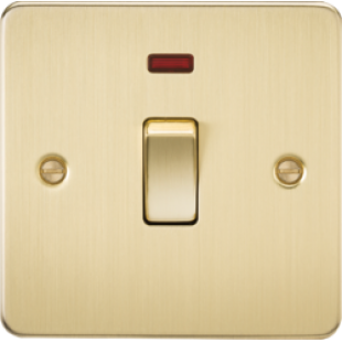 Flat Plate 20A 1G DP Switch With Neon - Brushed Brass