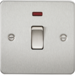 Flat Plate 20A 1G DP Switch With Neon - Brushed Chrome