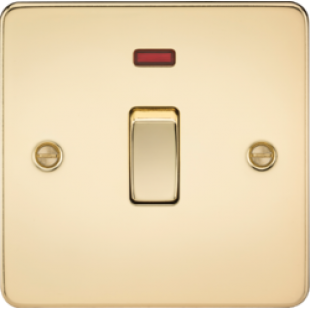 Flat Plate 20A 1G DP Switch With Neon - Polished Brass