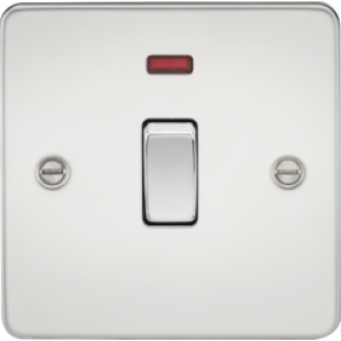 Flat Plate 20A 1G DP Switch With Neon - Polished Chrome