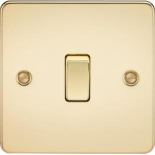 Flat Plate 20A 1G DP Switch - Polished Brass