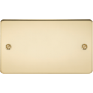 Flat Plate 2G Blanking Plate - Polished Brass