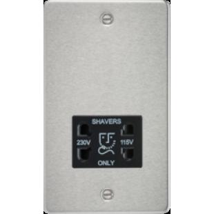Flat Plate 115/230V Dual Voltage Shaver Socket - Brushed Chrome With Black Insert
