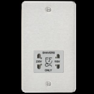 Flat Plate 115/230V Dual Voltage Shaver Socket - Brushed Chrome With Grey Insert