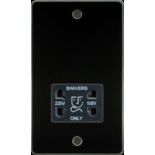 Flat Plate 115/230V Dual Voltage Shaver Socket - Gunmetal With Black Insert