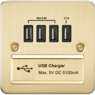 Flat Plate Quad USB Charger Outlet - Brushed Brass