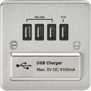 Flat Plate Quad USB Charger Outlet - Brushed Chrome
