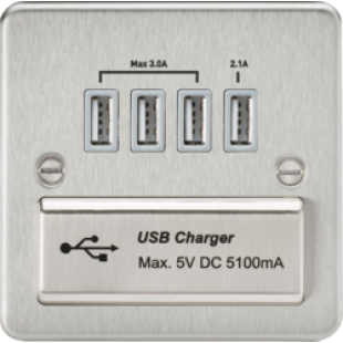 Flat Plate Quad USB Charger Outlet - Brushed Chrome With Grey Insert