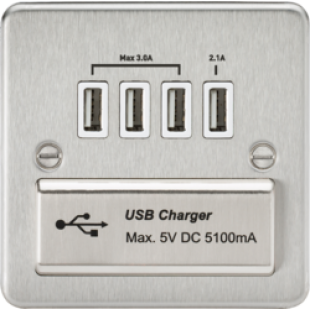 Flat Plate Quad USB Charger Outlet - Brushed Chrome With White Insert