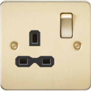 Flat Plate 13A 1G DP Switched Socket - Brushed Brass