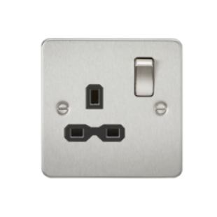 Flat Plate 13A 1G DP Switched Socket - Brushed Chrome With Black Insert