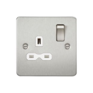 Flat Plate 13A 1G DP Switched Socket - Brushed Chrome With White Insert