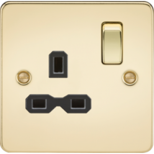 Flat Plate 13A 1G DP Switched Socket - Polished Brass