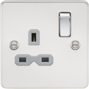 Flat Plate 13A 1G DP Switched Socket - Polished Chrome With Grey Insert