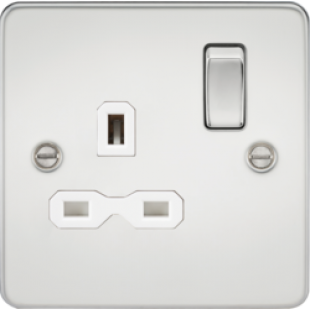 Flat Plate 13A 1G DP Switched Socket - Polished Chrome With White Insert