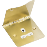 Knightsbridge 13A 1G Unswitched Floor Socket Brushed Brass With White Insert