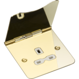 Knightsbridge 13A 1G Unswitched Floor Socket Polished Brass With White Insert