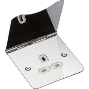 Knightsbridge 13A 1G Unswitched Floor Socket Polished Chrome With White Insert