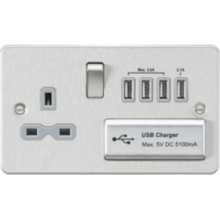 Flat Plate 13A Switched Socket With Quad USB Charger - Brushed Chrome With Grey Insert