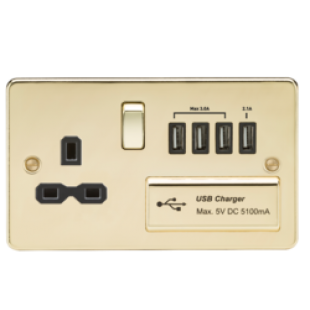 Flat Plate 13A Switched Socket With Quad USB Charger - Polished Brass With Black Insert