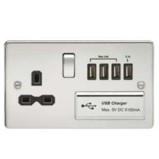 Flat Plate 13A Switched Socket With Quad USB Charger - Polished Chrome With Black Insert