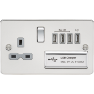 Flat Plate 13A Switched Socket With Quad USB Charger - Polished Chrome With Grey Insert