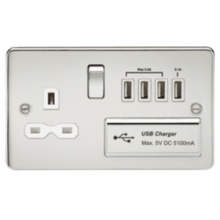 Flat Plate 13A Switched Socket With Quad USB Charger - Polished Chrome With White Insert