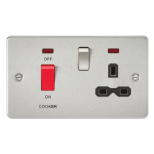 Flat Plate 45A DP Switch And 13A Switched Socket With Neon - Brushed Chrome With Black Insert