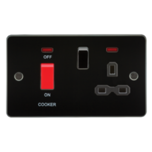 Flat Plate 45A DP Switch And 13A Switched Socket With Neon - Gunmetal With Black Insert