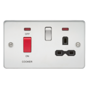 Flat Plate 45A DP Switch And 13A Switched Socket With Neon - Polished Chrome With Black Insert