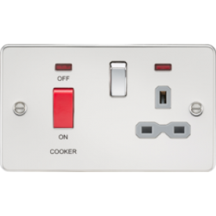 Flat Plate 45A DP Switch And 13A Switched Socket With Neon - Polished Chrome With Grey Insert