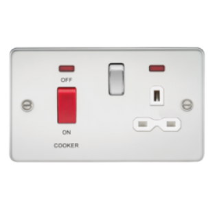 Flat Plate 45A DP Switch And 13A Switched Socket With Neon - Polished Chrome With White Insert