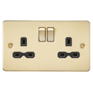 Flat Plate 13A 2G DP Switched Socket - Brushed Brass